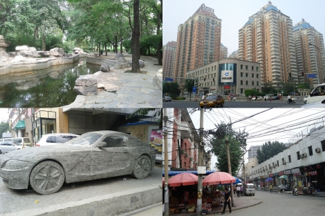 From top left to bottom right: A park, major intersection, rock car in art district, small street corner, all in Beijing