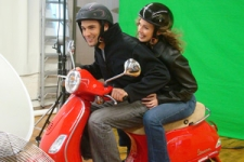 Behind the scenes shot of Samy and Edith during the D'Italiano photoshoot