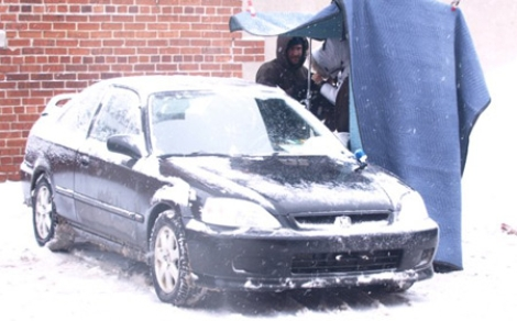 """Shooting car scene with Samy and Andrew in """"Day Four"""""""