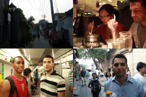 Top left to bottom right, John (Kevin's friend who came to help) in an alley, Yundong (Kevin's friend who hosted us) and I at a restaurant, Daniel and I in a subway, me eating a sweat potato on the streets